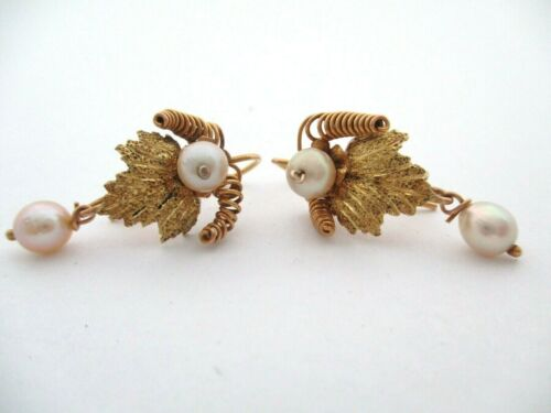 Antique Frida Kahlo Style 10K Gold Mexican Oaxacan Earrings With Natural Pearls
