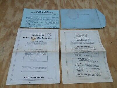 Original Atlas Craftsman 618 101 6 Lathe Operating Instructions Parts List