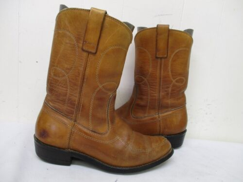 Distressed, Brown, Leather, Vintage, Cowboy, Boots, Mens, Size, 7, D, Style, 4347, USA