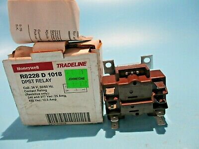 New Honeywell R8228d-1018 Dpst Switching Relay 24v Coil