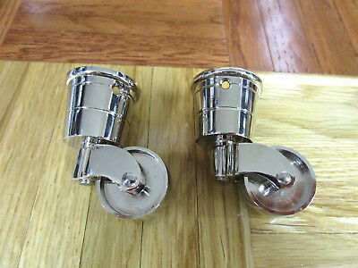 Caster Assembly Metal Furniture Wheels Chrome Cup Caster Table Chair Set Of 2