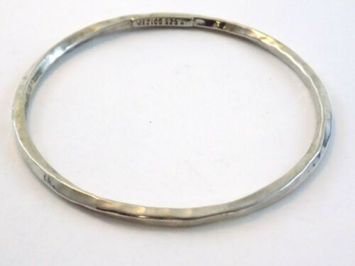 ATI Mexico Sterling Silver Hammered Texture Bangle Bracelet 925 8.25 Inch 10.7G
