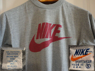 a6ada7bbbcd NIKE 70s 80s Vintage Orange Tag Grey S 50 50 Cotton Poly Made in USA T-Shirt