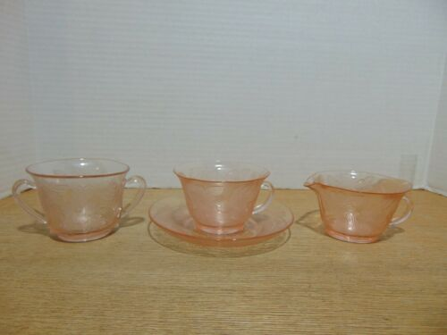 MacBeth Evans Dogwood Appleblossom Pink Depression Glass 4 Piece Tea Set 1929-32