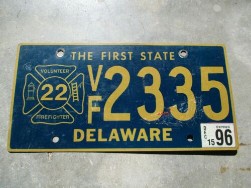 Delaware 1996 Volunteer Firefighter license plate  #  2335