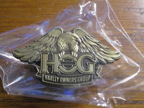 Harley Davidson HOG Brass Eagle Wings Lapel Pin Harley Owners Group NEW