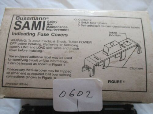 (3) Buss SAMI-1 I  Indicating Fuse Cover NEW OLD STOCK