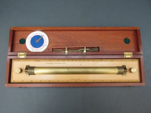 """Vintage boxwood & brass 15"""" parallel rolling rule ruler dividers by W H Harling"""
