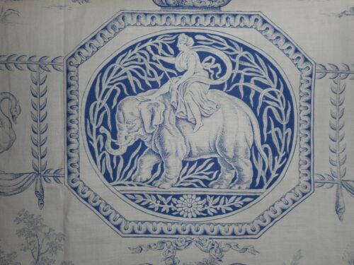 Antique French Blue Neo Classic Linen Toile Fabric ~ Diana the Huntress