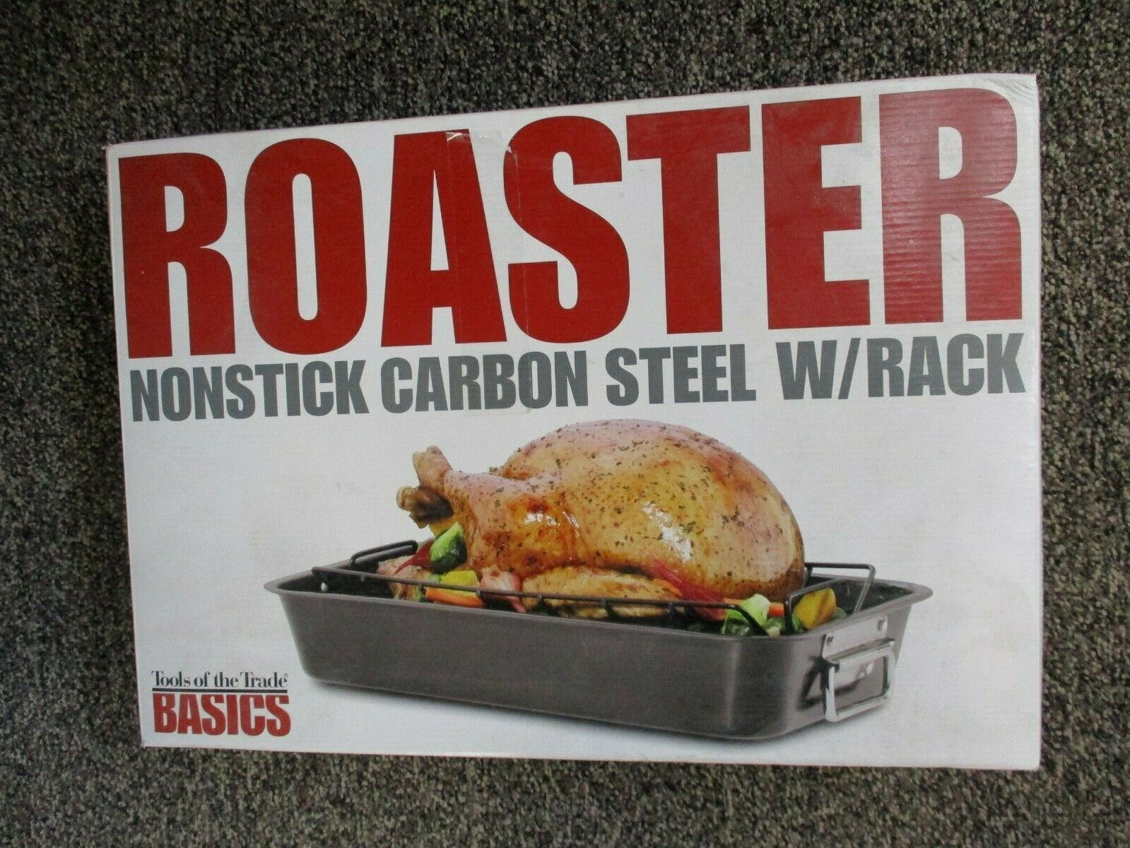 Non-Stick Carbon Steel Roaster With Rack Tools Of The Trade Basics 18.5 X 13 X 3