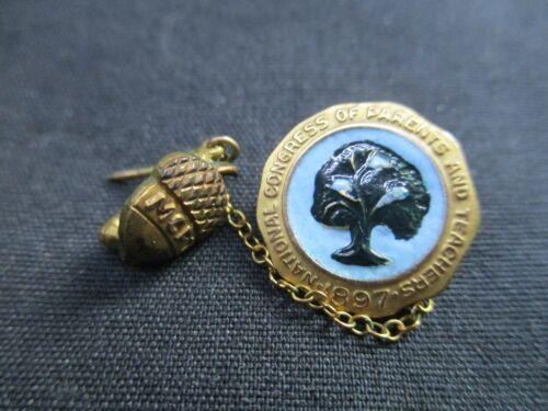 VINTAGE 1897 10K NFS NATIONAL CONGRESS PARENTS TEACHERS GOLD PIN AWARD ACORN