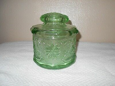 Beautiful Vintage Green Etched Depression Glass Sugar/Candy Dish with Lid