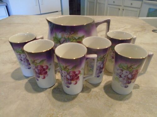 Dresden China Lemonade Set Pitcher with 6 Mugs