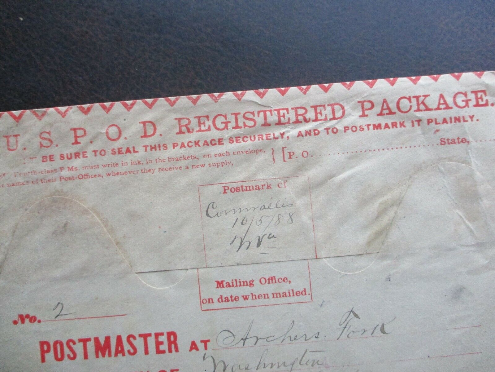 1888 LARGE 10 X 5 Virginia Hand Pen Cancel,unknown Registered Signed Cover  - $19.99