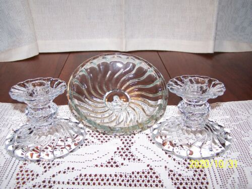 """FOSTORIA CRYSTAL COLONY PAIR 3.5"""" CANDLESTICKS & ONE 6"""" ROUND CANDLE INSERT  EX!"""