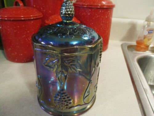 VINTAGE INDIANA GLASS BLUE CARNIVAL GLASS BISCUIT/CANDY JAR W/LID HARVEST GRAPE