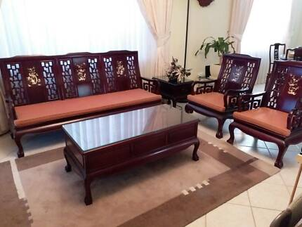 Chinese Rosewood 3 Seater Lounge Set, Coffee Table & Side Table