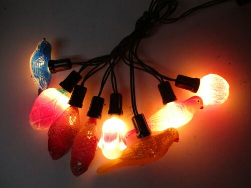 8 Vintage Working C-6 Glass Figural Christmas Lights w Cord - Fish Birds Flowers
