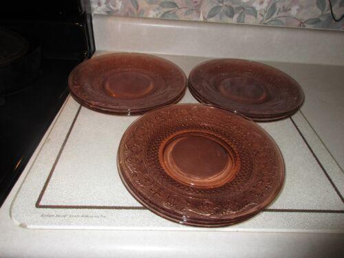 """Vintage Pink Depression Glass 10 1/3"""" Sandwich Plate Set of 9"""