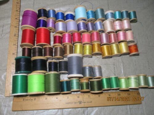 Lot of 64 Vintage Wood Sewing Thread Spools Assorted Colors and Brands