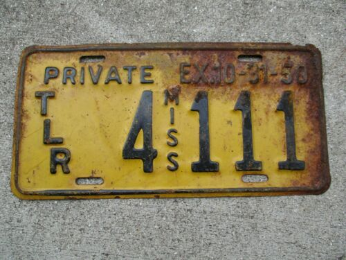 Mississippi  1950 Private trailer license plate #    4  111