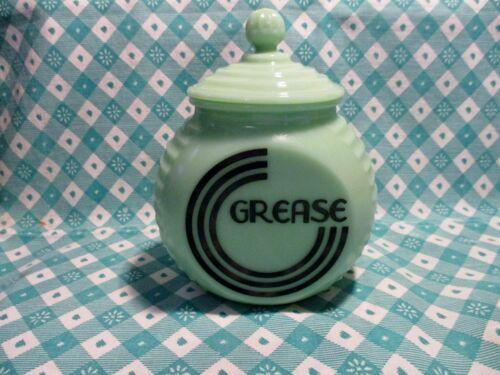 Jadeite Green Glass Black Letter Art Deco Grease Jar & Lid / Excellent Condition