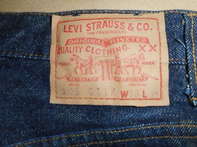 Mens 502 XX 0117 BIG E Vintage 1966-1968 Original Levi Jeans Raw Denim Selvedge