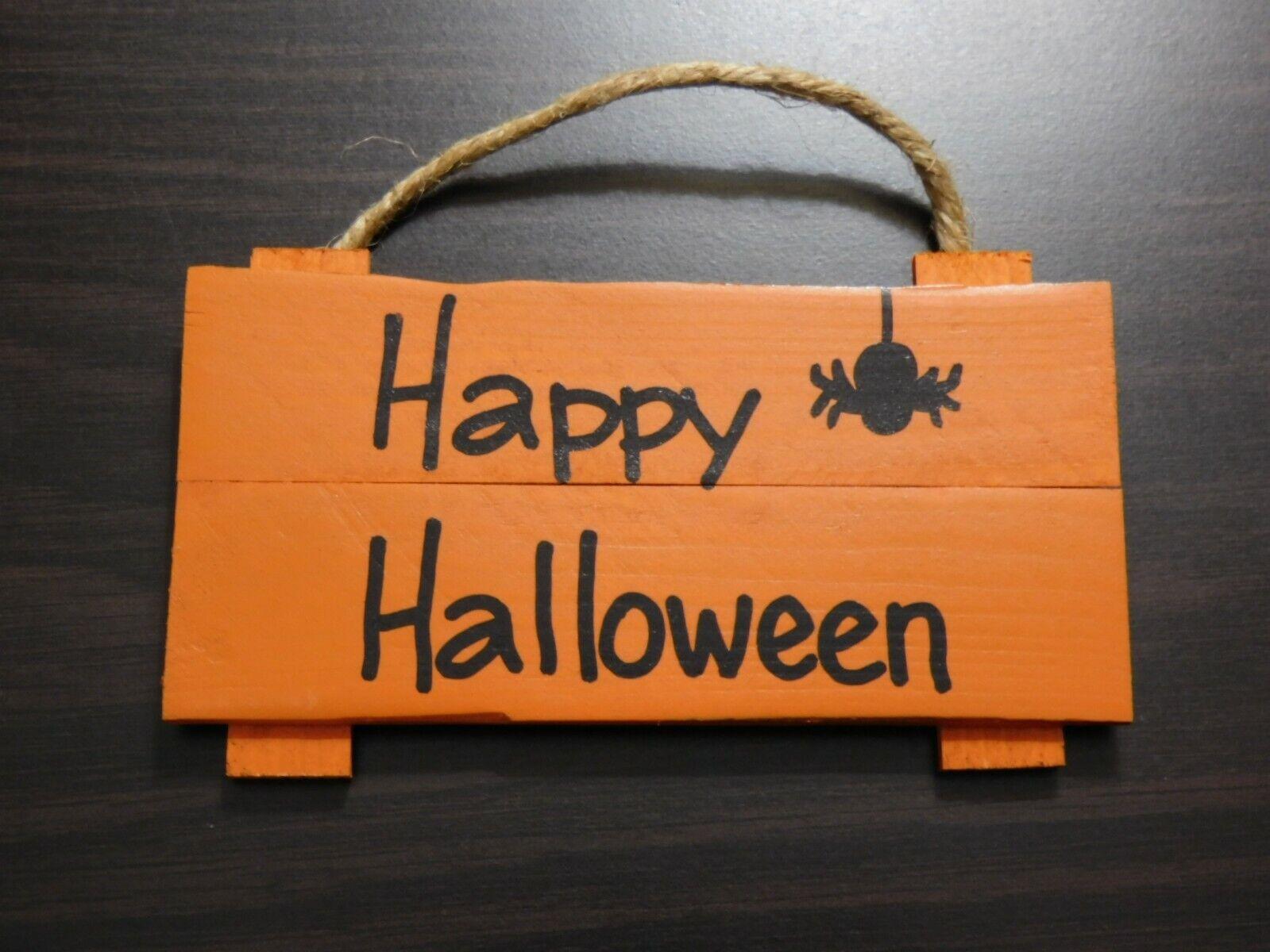 """Wooden Hanging Pallet Sign Halloween Theme Pumpkin  3.25"""" x"""