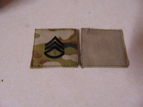 MILITARY PATCH US ARMY RANK HOOK & LOOP BACK MULTICAM COMBAT OCP STAFF SERGEANT