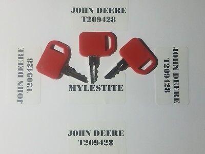 3 John Deere Keys Skid Steer Equipment Ignition Keys T209428 Fast Shipping