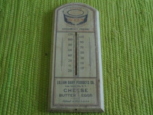 Vintage 1937 Sodus Cheese WOOD THERMOMETER Lillian Dairy Long Island Advertising