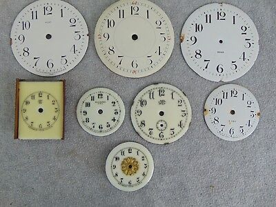 Antique New Haven Seth Thomas Waterbury   Clock Small Shelf Porcelain Dial Lot