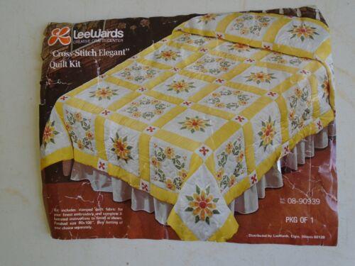 "Lee Wards Cross Stitch Elegant Quilt Kit 08-9039 Size 90"" x 108"" Vintage Yellow"