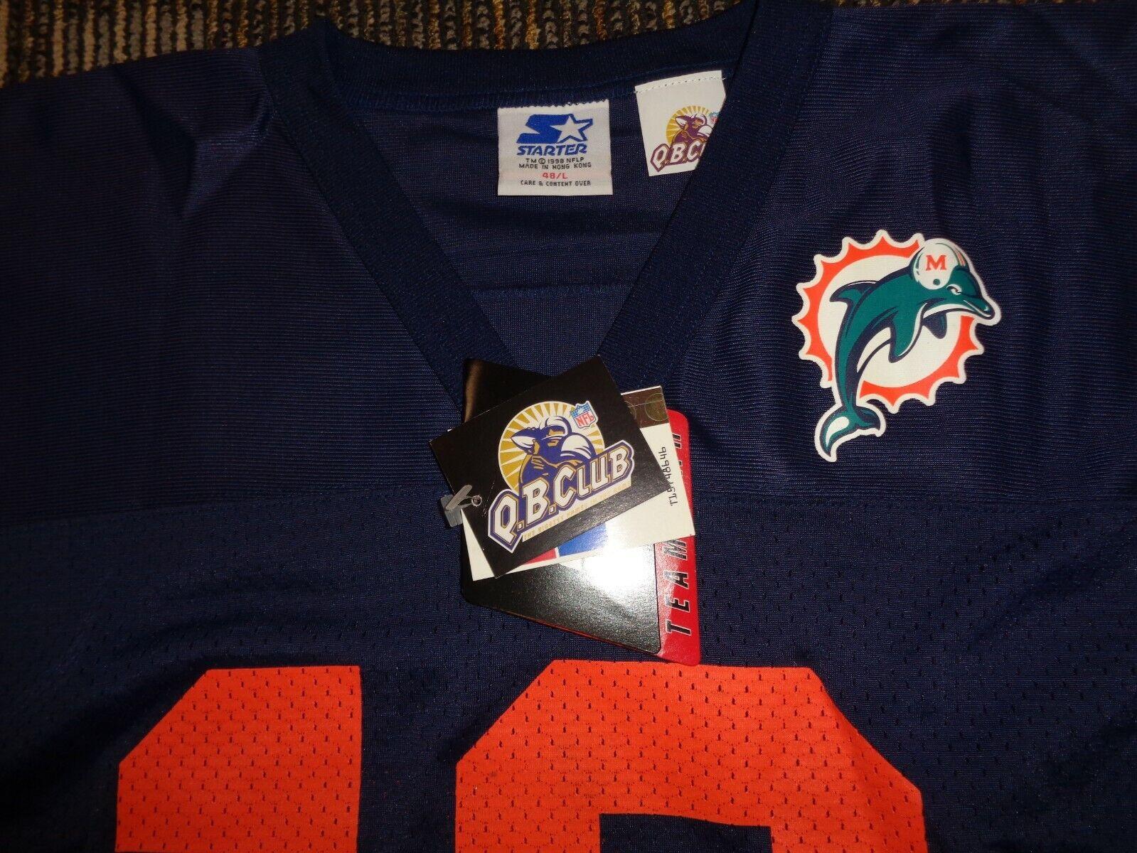 NWT DAN MARINO 13 MIAMI DOLPHINS STARTER BLUE MENS NFL GAME FOOTBALL JERSEY LG - $59.99
