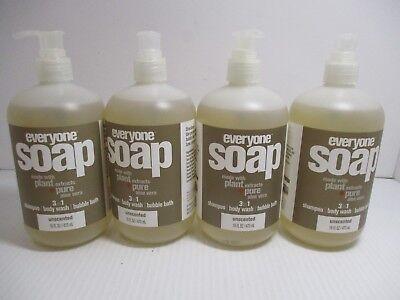 Body Soap Bubble Bath Shampoo (4 EVERYONE SOAP 3-1 SHAMPOO-BODY WASH-BUBBLE BATH UNSCENTED 16 OZ EA JL 7348)