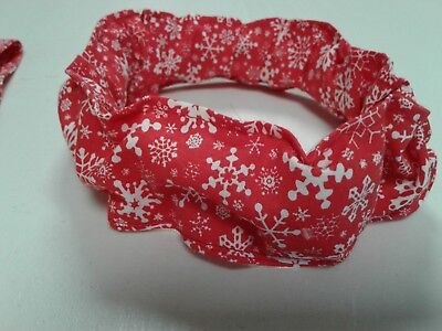 Buster Brown Christmas Red Snowflakes Dog Collar Cover Scrunchie Large - Red Snowflakes