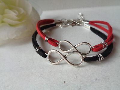 Armbänder Set  rot/schwarz Unendlichkeit