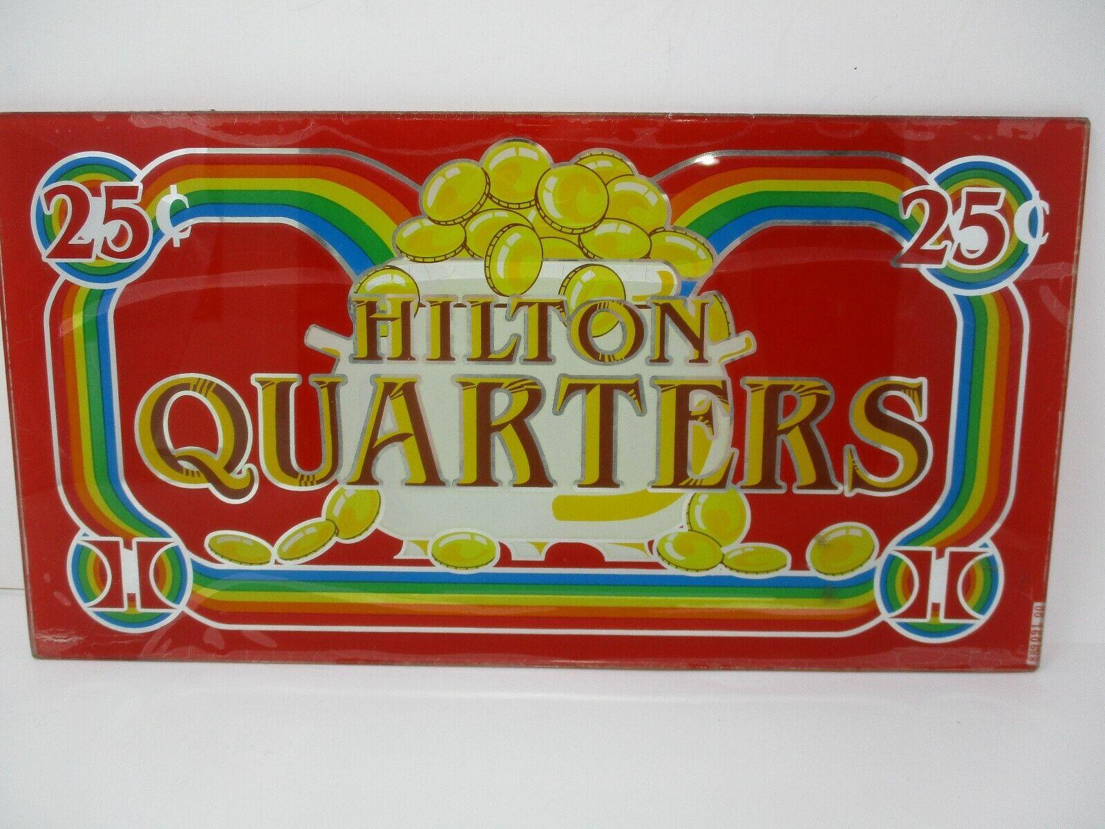 Hilton Casino Quarters Retired Atlantic City Glass Slot Machine Front Face Plate