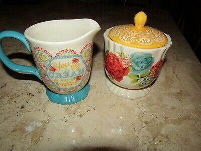 Pioneer Woman Hyacinth Blossom Jubilee Creamer & Sugar Bowl w/ Lid