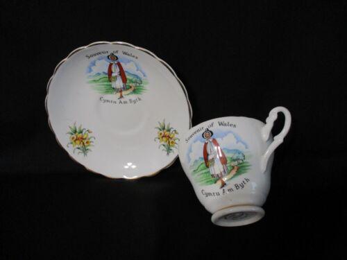 SOUVENIR of WALES LEWIS BONE CHINA TEA CUP & SAUCER SET-Welsh Maid-Cymru Am Byth