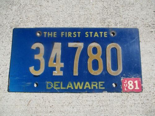Delaware 1981 riveted numbers license plate  #  34780