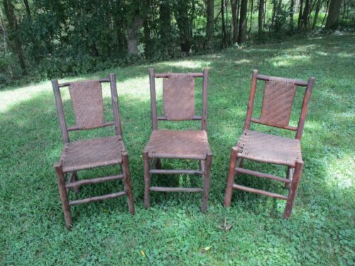 Antique Set of 3 Old Rustic Hickory Woven Splint Chairs