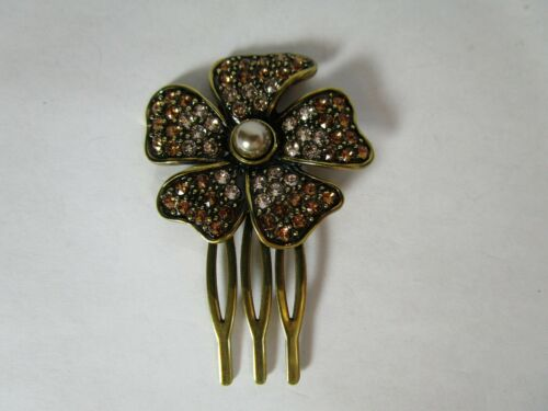 Heidi Daus Deco Crystal Hair Comb Brown and Clear with Faux Pearl