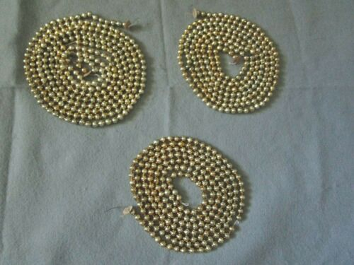 "Vintage Gold Mercury Glass Bead Garland 3 Pieces 262"" Total"