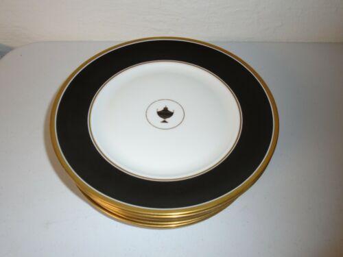 "Set of 8 Richard Ginori Impero Black Dinner Plates 10.25"" RARE"