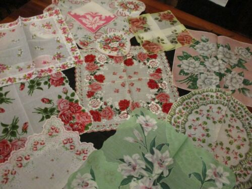 Lot of 10 Vintage PINK Floral hankies , all sizes, cotton