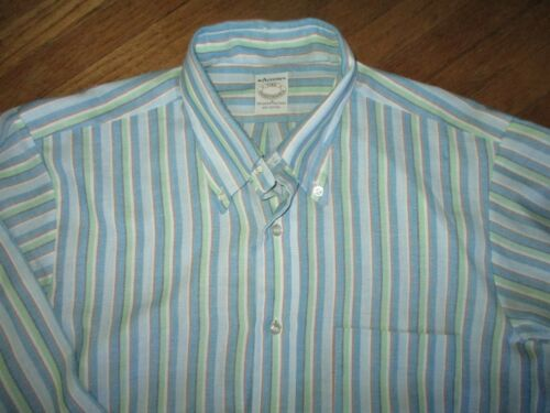 vtg 70s 80s ARROW TRADITIONALS SHIRT Long Sleeve Button-Down Blue Green Stripe M