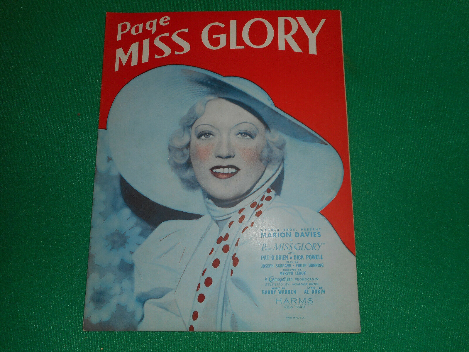 PAGE MISS GLORY Sheet Music Marion Davies NEAR MINT - $4.99