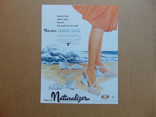 1953 Lady NATURALIZER WHITE CAP SHOES Beach Waves vintage art print ad