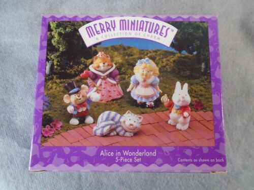 Hallmark Merry Miniatures Alice in Wonderland 5 Piece Set (1996) NIB!!